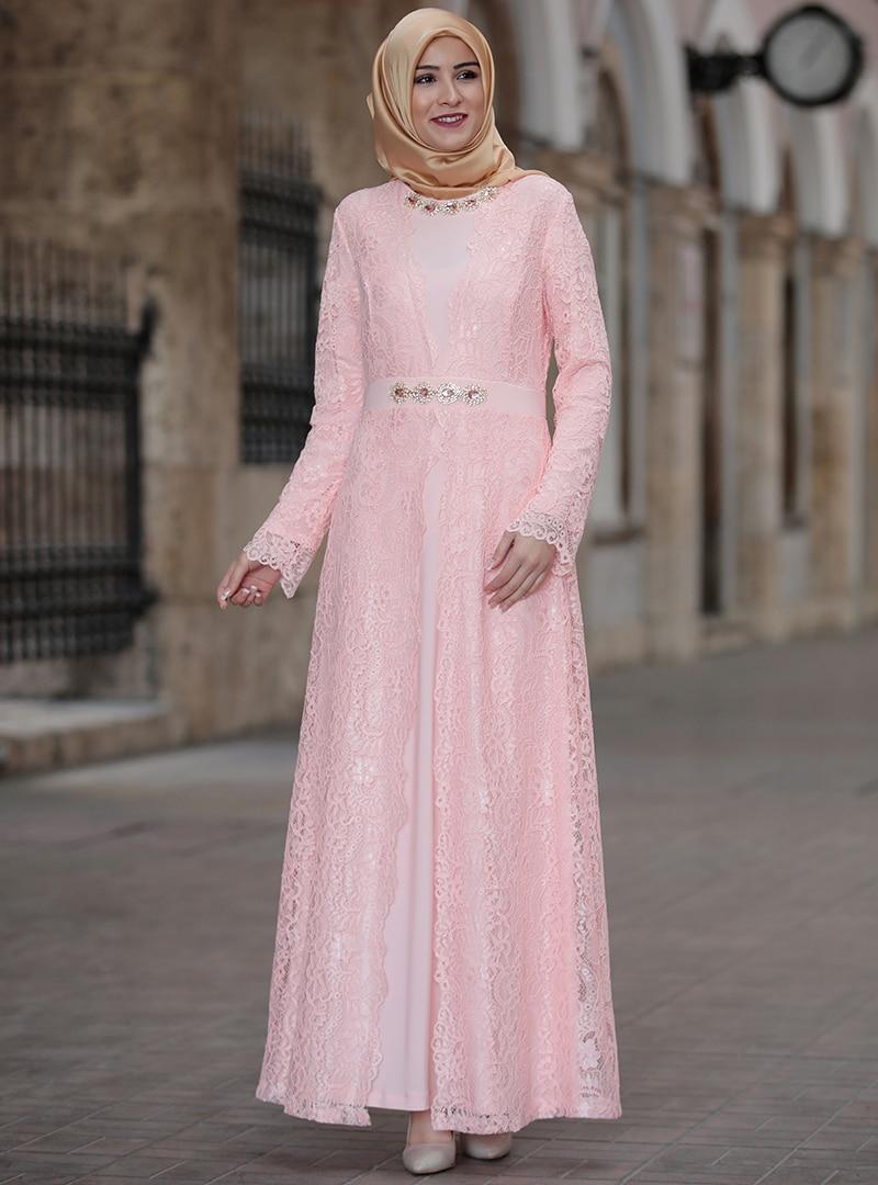 Tesettür Büyük Beden Abiye Elbise Amine Hüma Pudra Kadın 42