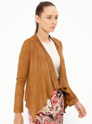 Brown - Unlined - Shawl Collar - Cotton - Jacket