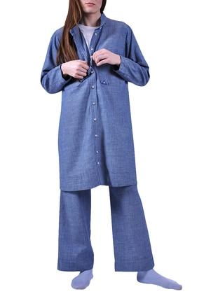 Blue - Gray - Button Collar - Denim - Tunic