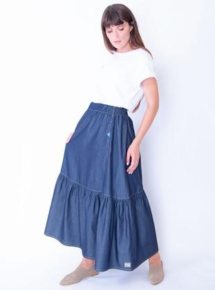 Blue - Unlined - Cotton - Denim - Skirt