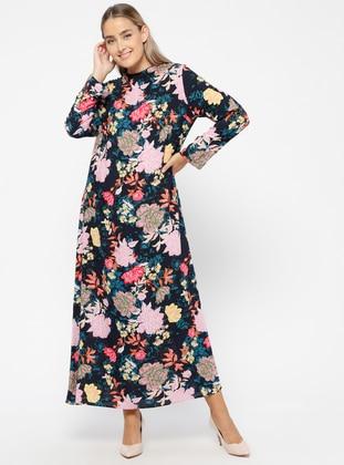 MisCats Çiçekli Elbise - Lacivert