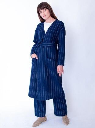 Blue - Stripe - Unlined - Abaya