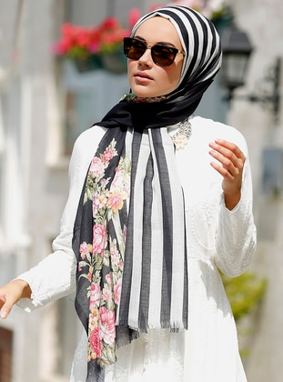 Black - White - Striped - Shawl - Şal Evi