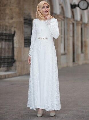 White - Ecru - Unlined - Crew neck - Muslim Plus Size Evening Dress