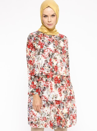 Red - Floral - Round Collar - Tunic
