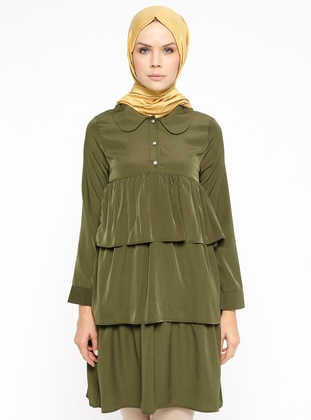 Green - Floral - Round Collar - Tunic