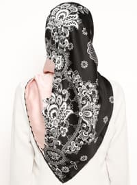 Black - Powder - Printed - Rayon - Scarf