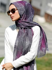 Purple - Multi - Printed - Shawl - Şal Evi