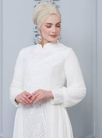 White - Unlined - Crew neck - Muslim Evening Dress