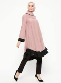 Black - Dusty Rose - Crew neck - Tunic