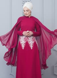 Coral - Unlined - Crew neck - Muslim Evening Dress
