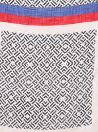 Beige - Saxe - Printed - Viscose - Scarf
