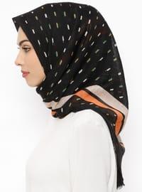 Black - Orange - Printed - Viscose - Scarf