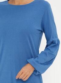 Blue - Crew neck - Cotton - Tunic