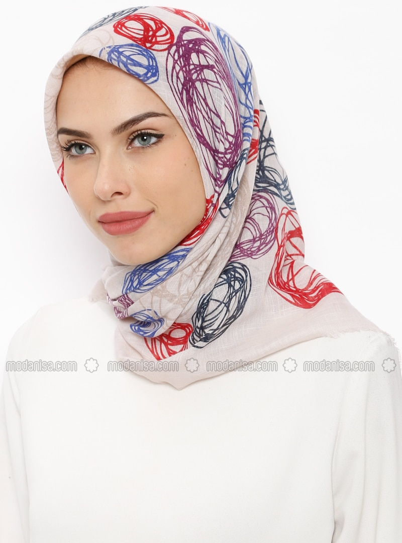 Beige - Saxe - Printed - Viscose - Scarf