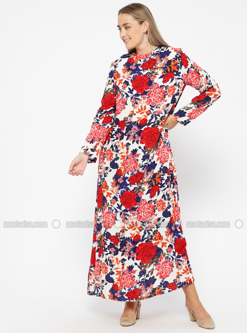 Red - White - Ecru - Floral - Unlined - Crew neck - Viscose - Plus Size  Dress