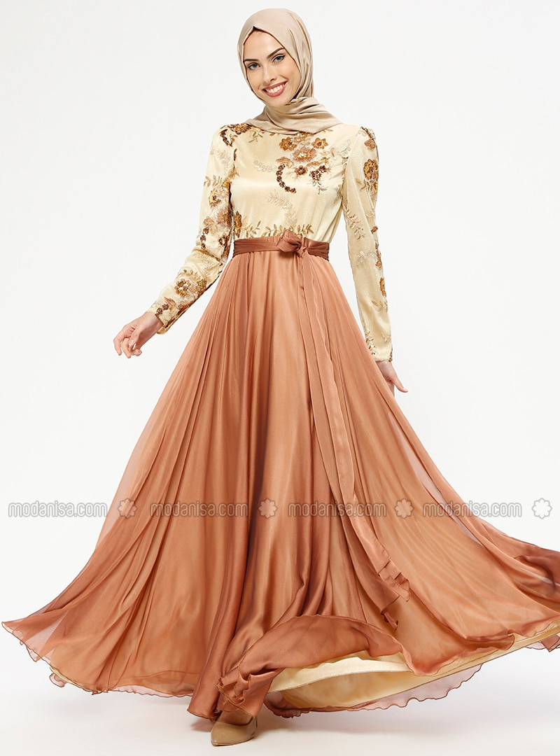 Tan - Fully Lined - Polo neck - Muslim Evening Dress