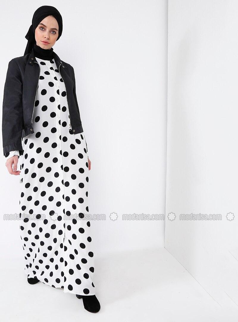 860b4dcacd3 Ecru - Polka Dot - Crew neck - Unlined - Dresses. Fotoğrafı büyütmek için  tıklayın