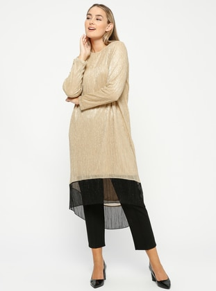 Golden tone - Crew neck - Plus Size Tunic