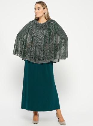 Emerald - Unlined - Crew neck - Muslim Plus Size Evening Dress