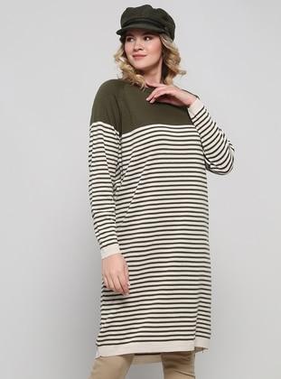 Beige - Khaki - Stripe - Crew neck - Acrylic -  - Plus Size Tunic