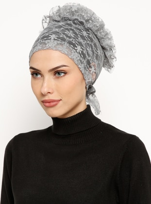 Gray - Lace up - Lace - Bonnet
