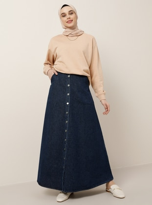 Navy Blue - Unlined - Cotton - Denim - Skirt