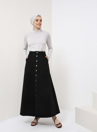 Black - Unlined - Cotton - Denim - Skirt