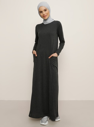 Anthracite - Crew neck - Unlined - Cotton - Dress