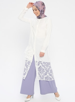 Ecru - Floral - Button Collar - Tunic