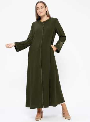 Khaki - Crew neck - Unlined - Plus Size Abaya - Jamila