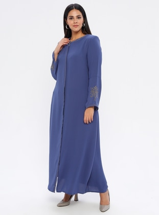 Indigo - Crew neck - Unlined - Plus Size Abaya - Jamila