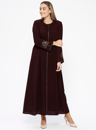 Plum - Crew neck - Unlined - Plus Size Abaya - Jamila