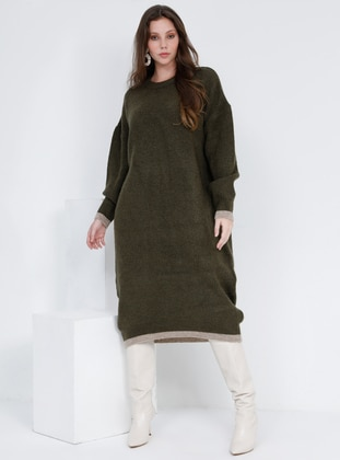 Minc - Khaki - Crew neck - Wool Blend - Acrylic - Plus Size Tunic