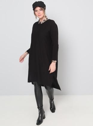 Black - Crew neck - Acrylic - Plus Size Tunic