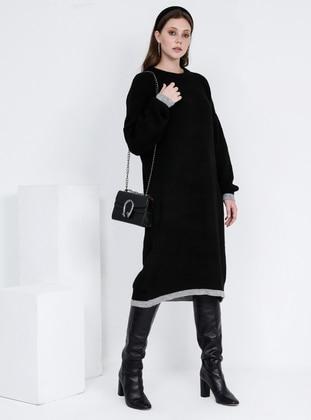 Black - Gray - Crew neck - Wool Blend - Acrylic -  - Plus Size Tunic