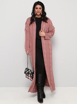 Dusty Rose - Acrylic -  - Plus Size Cardigan - Alia