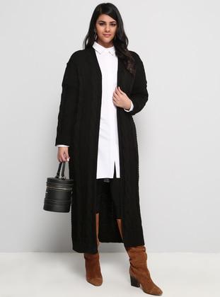 Black - Acrylic -  - Plus Size Cardigan - Alia