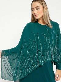 Emerald - Unlined - Crew neck - Muslim Plus Size Evening Dress