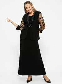 Black - Crew neck - Unlined - Plus Size Evening Suit