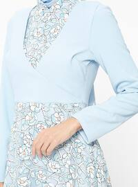 Blue - Floral - Crew neck - Fully Lined - Dresses