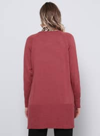 Dusty Rose - Crew neck - Acrylic - Plus Size Jumper