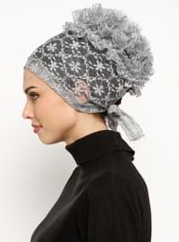Gray - Lace up - Lace - Bonnet