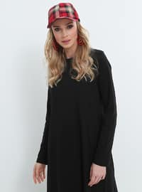Black - Crew neck - Unlined - Cotton - Dresses