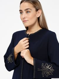 Navy Blue - Crew neck - Unlined - Plus Size Abaya