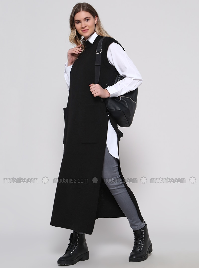 Black - Crew neck - Acrylic -  - Plus Size Vest