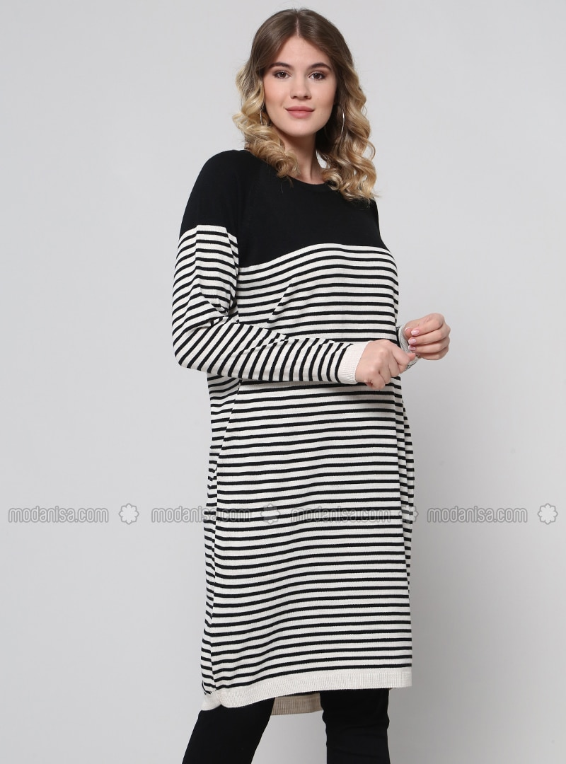 Black - Beige - Stripe - Crew neck - Acrylic -  - Plus Size Tunic