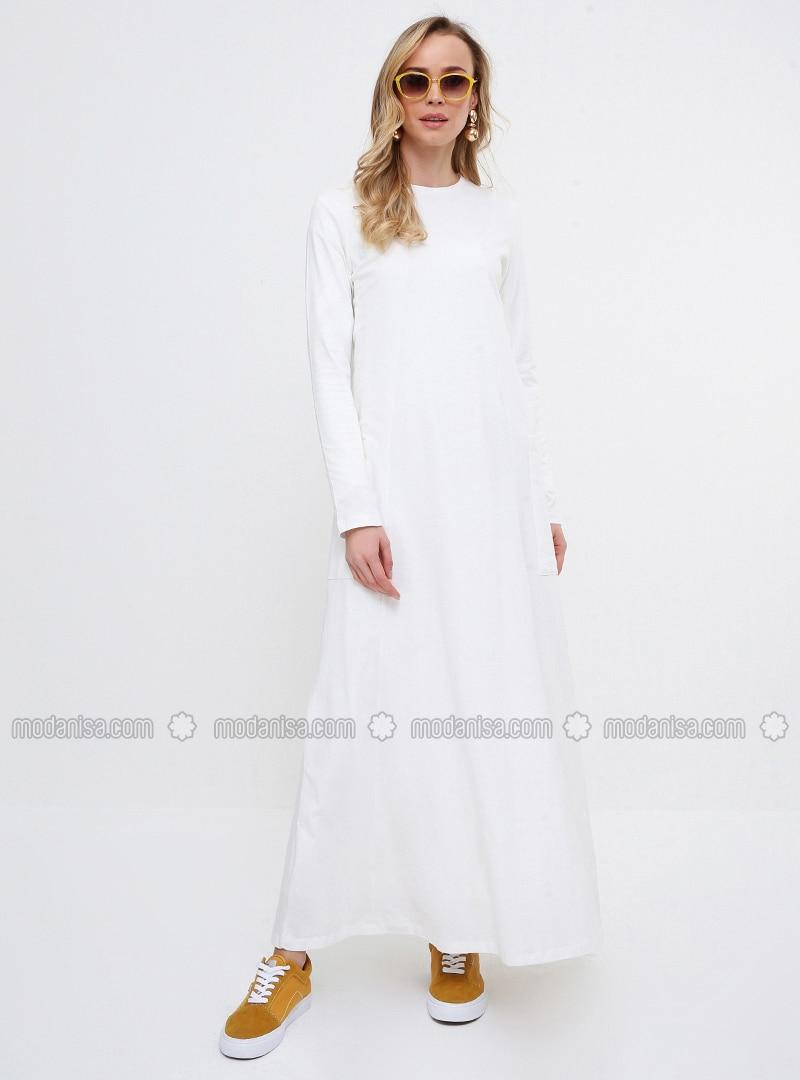 White - Crew neck - Unlined - Cotton - Dresses