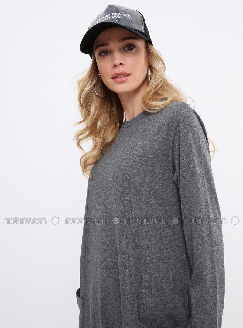 Gray - Crew neck - Unlined - Cotton - Dresses