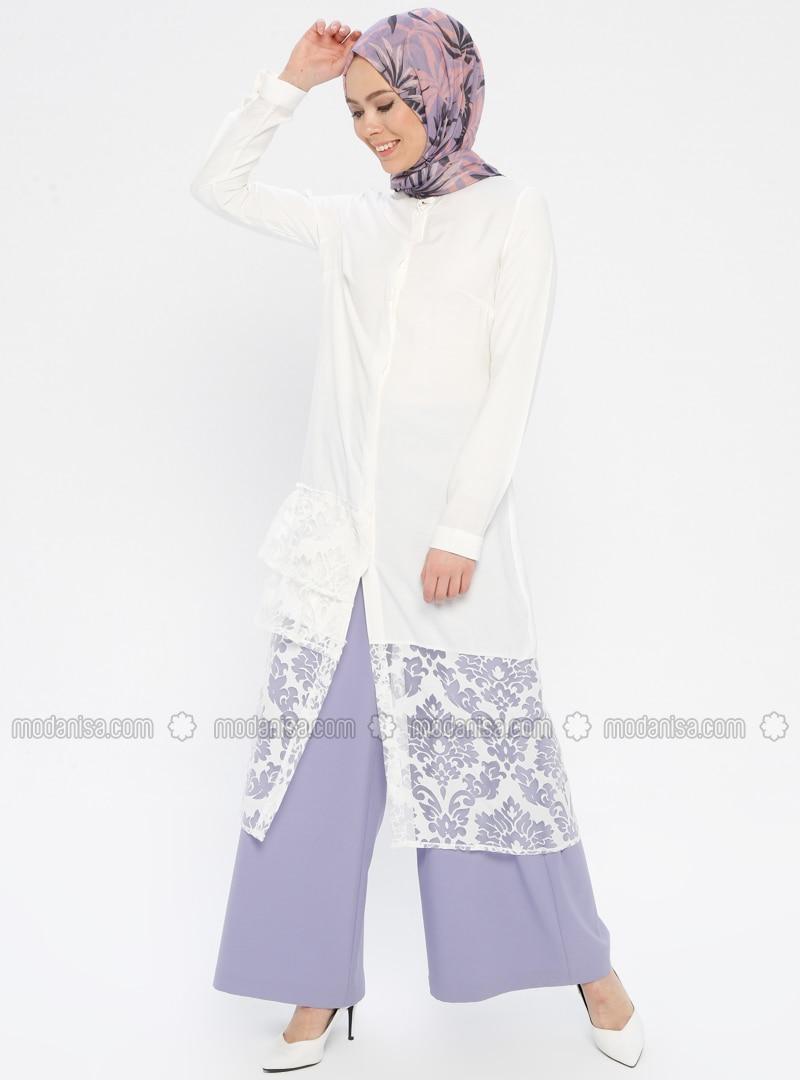 Ecru - Floral - Button Collar - Tunic
